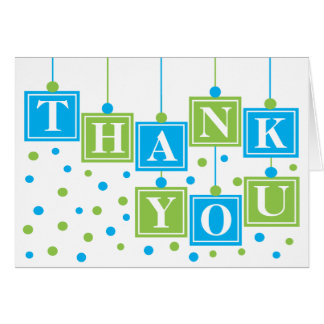 BABY Blocks Blue Green Thank You Card