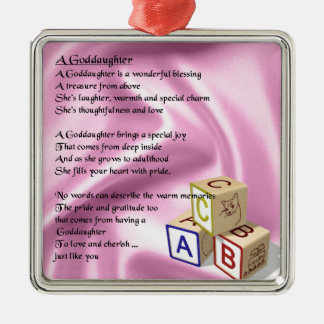 Baby Blocks goddaughter poem Metal Ornament