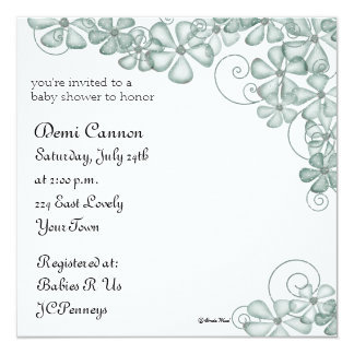 Baby Blossom Shower Invitation in Teal