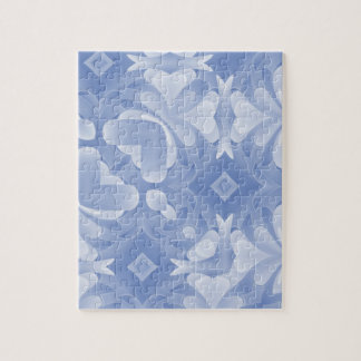 Baby Blue Abstract Hearts and Diamonds Jigsaw Puzzle