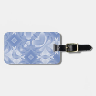 Baby Blue Abstract Hearts and Diamonds Luggage Tag