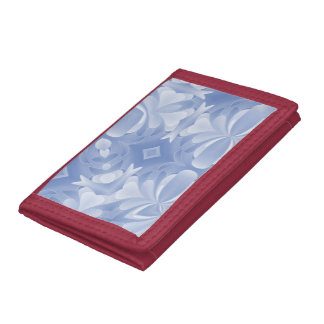 Baby Blue Abstract Hearts and Diamonds Tri-fold Wallet