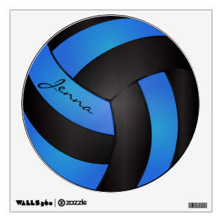 Baby Blue and Black Personalize Volleyball Wall Sticker