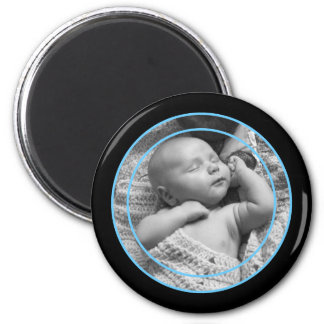 Baby Blue and Black Photo Frame Magnet
