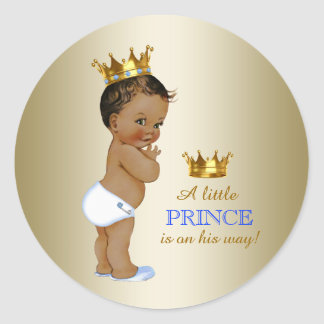 Baby Blue and Gold Ethnic Prince Baby Shower Round Sticker