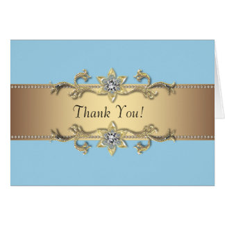 Baby Blue and Gold Thank You Cards