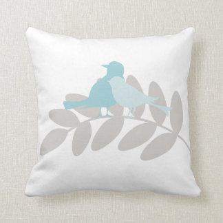 Baby Blue and Gray Birds Throw Pillow