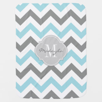 Baby Blue and Gray Chevron with Monogram Receiving Blankets