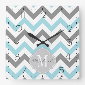 Baby Blue and Gray Chevron with Monogram Square Wall Clock
