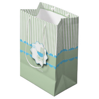 Baby Blue and Green Buggy - Baby Boy Shower Medium Gift Bag