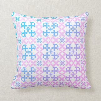 Baby Blue and Pink Abstract Flower Pillow