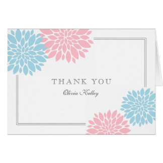 Baby Blue and Pink Modern Flower Baby Thank you Card