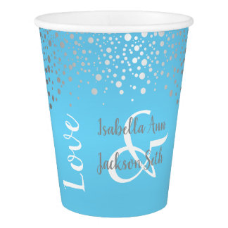 Baby Blue and Silver Confetti Dots Paper Cup