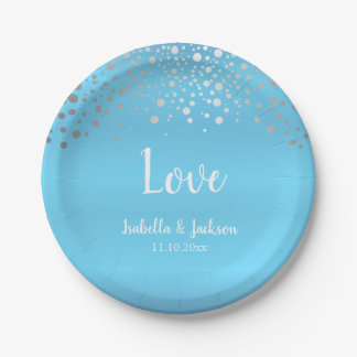 Baby Blue and Silver Confetti Dots Paper Plate