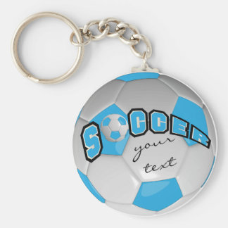 Baby Blue and White Personalize Soccer Ball Basic Round Button Keychain