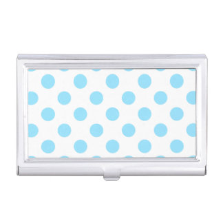 Baby blue and white polka dots business card cases