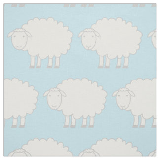 Baby blue and white sheep farm animal print fabric