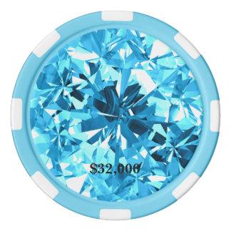 Baby Blue Aquamarine Gem Stone Poker Chip
