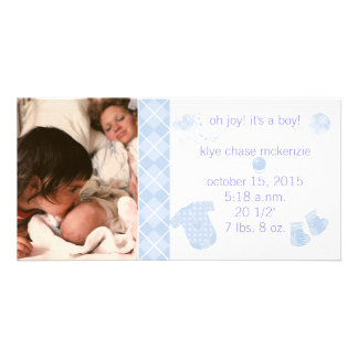 Baby Blue Argyle - Oh Joy! It's A Boy! Custom Photo Card
