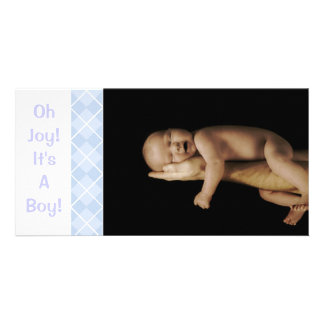 Baby Blue Argyle - Oh Joy! It's A Boy! Customized Photo Card