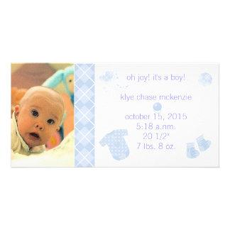 Baby Blue Argyle - Oh Joy! It's A Boy! Photo Card Template