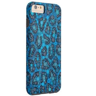 Baby Blue Black Cheetah Dots Tough iPhone 6 Plus Case
