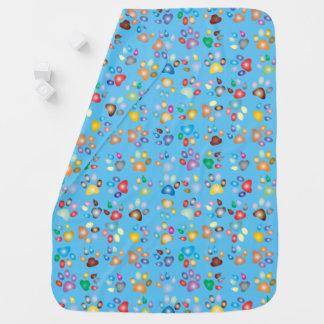 Baby Blue Boy Pastel Cat Paw Print Baby Blanket