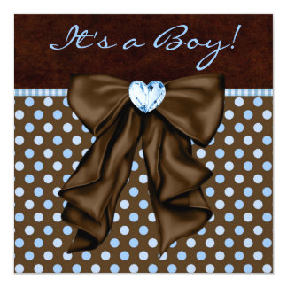 Baby Blue Brown Baby Boy Shower Personalized Invitations
