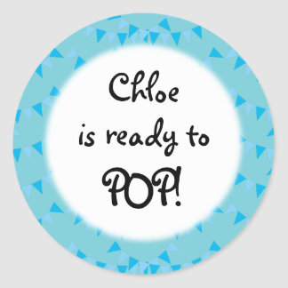 Baby Blue Bunting Ready to POP! Baby Shower Classic Round Sticker