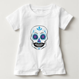 Baby Blue Candy Skull Romper