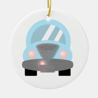 Baby Blue Car Round Ceramic Ornament