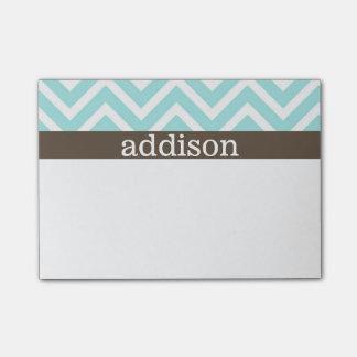 Baby Blue Chevron Stripes Post-it Notes