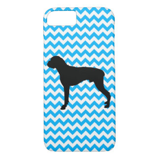 Baby Blue Chevron With Boxer Silhouette iPhone 7 Case