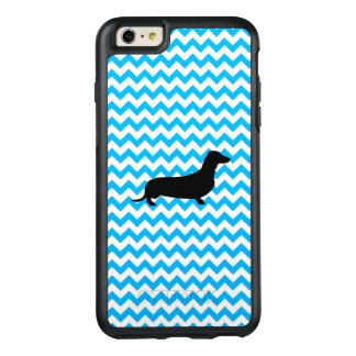 Baby Blue Chevron With Dachshund OtterBox iPhone 6/6s Plus Case