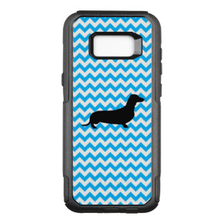 Baby Blue Chevron With Dachshund Silhouette OtterBox Commuter Samsung Galaxy S8+ Case