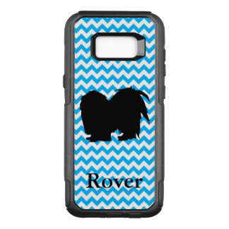 Baby Blue Chevron With Shih Tzu Silhouette OtterBox Commuter Samsung Galaxy S8+ Case