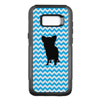 Baby Blue Chevron With Yorkie Silhouette OtterBox Commuter Samsung Galaxy S8+ Case