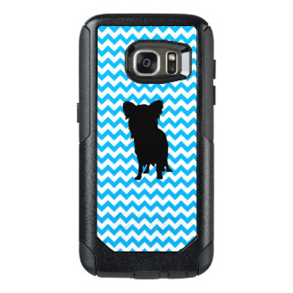 Baby Blue Chevron With Yorkie Silhouette OtterBox Samsung Galaxy S7 Case