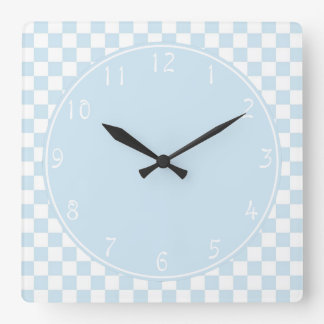 Baby blue circle Blue White Checkerboard Square Wall Clock
