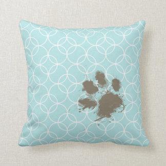 Baby Blue Circles; Funny Pawprint Throw Pillow