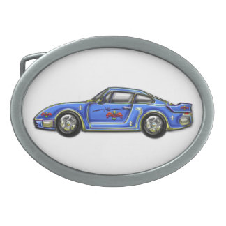 Baby Blue Classic Car Oval Belt Buckles