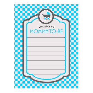 Baby Blue Cradle Baby Shower Advice Postcard