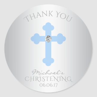Baby Blue Cross Baptism/Christening Boy Thank You Round Sticker