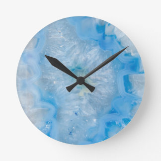 Baby Blue Crystal Agate Round Clock