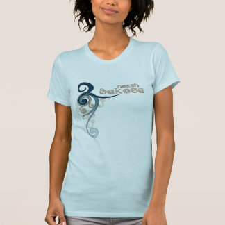 Baby Blue Curly Swirl North Dakota T-Shirt