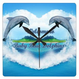 Baby Blue Dolphin Clock
