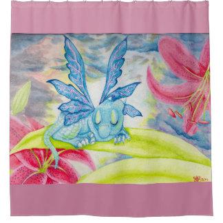 Baby Blue Dragon Fairy Faery Shower Curtain
