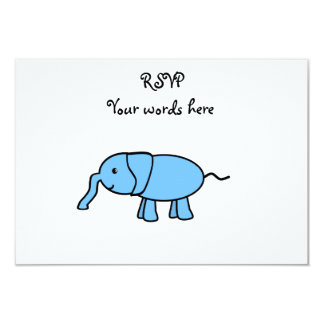 "Baby blue elephant 3.5"" x 5"" invitation card"
