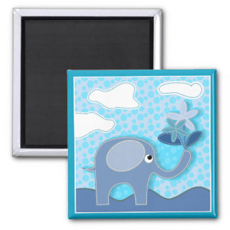 Baby Blue Elephant and Flowers Magnet
