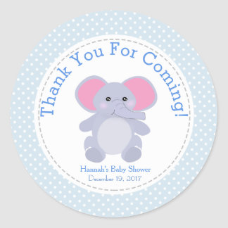 Baby Blue Elephant Baby Shower Party Thank You Classic Round Sticker